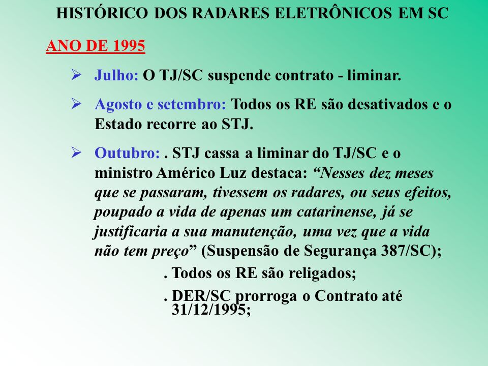 HISTÓRICO DOS RADARES ELETRÔNICOS EM SC