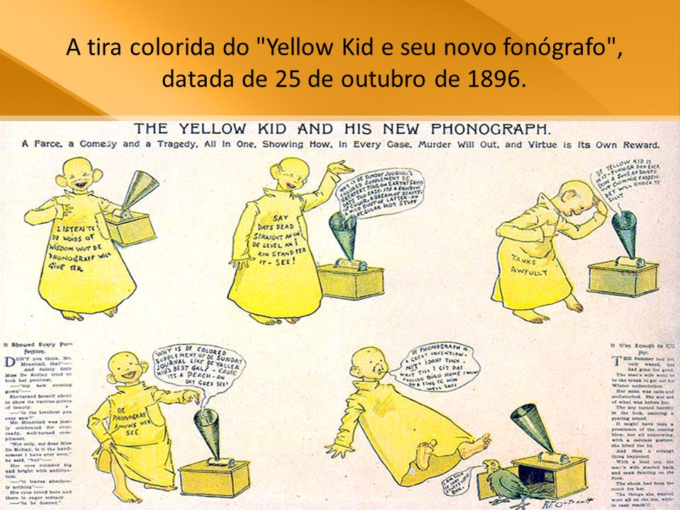 A tira colorida do Yellow Kid e seu novo fonógrafo , datada de 25 de outubro de 1896.