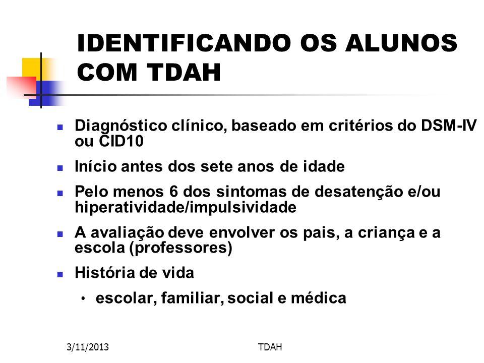 IDENTIFICANDO OS ALUNOS COM TDAH