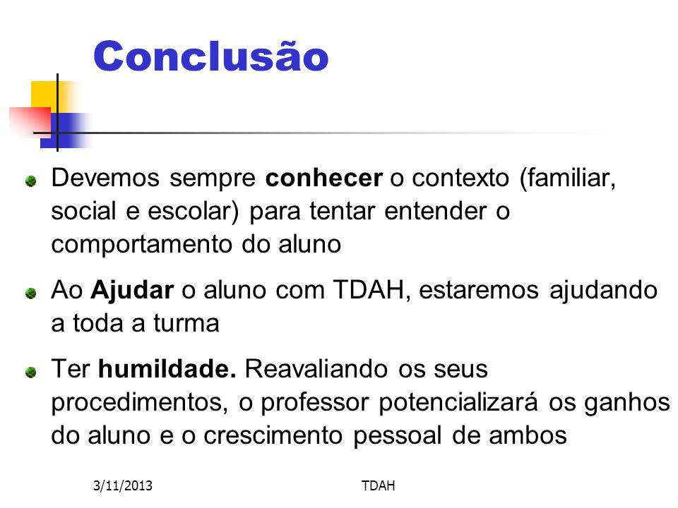 Conclusão Devemos sempre conhecer o contexto (familiar, social e escolar) para tentar entender o comportamento do aluno.