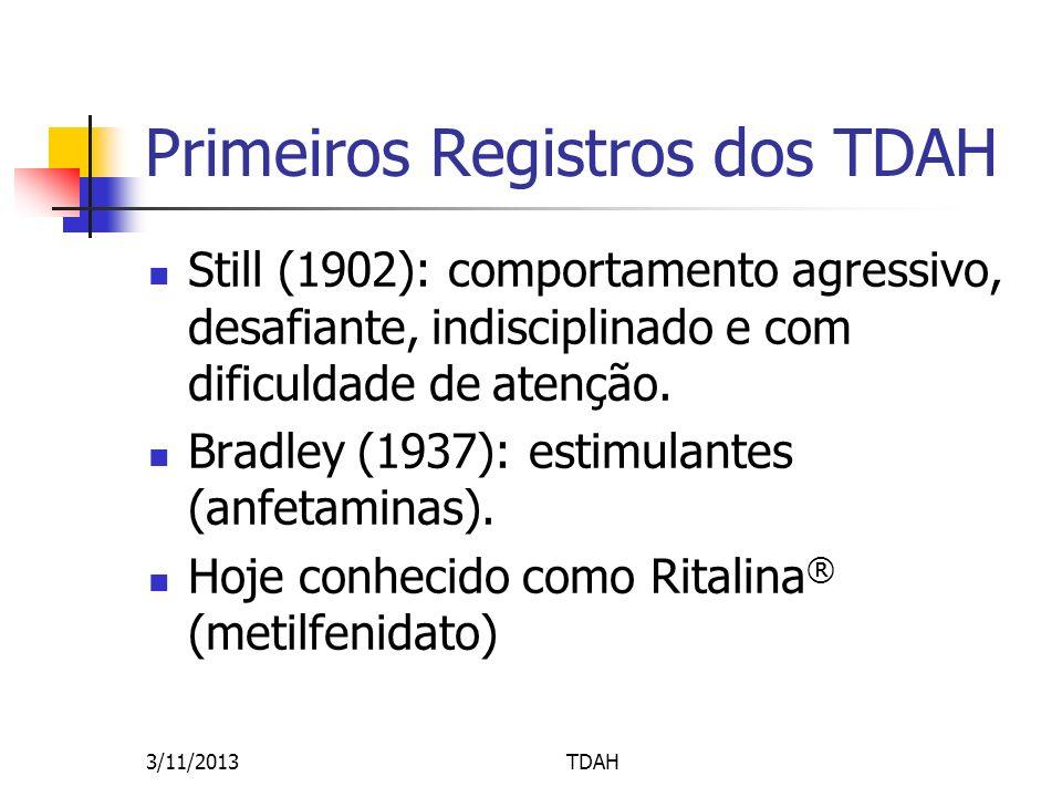 Primeiros Registros dos TDAH