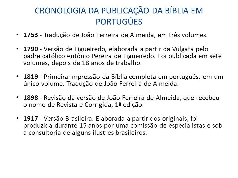 CRONOLOGIA DA PUBLICAÇÃO DA BÍBLIA EM PORTUGÛES