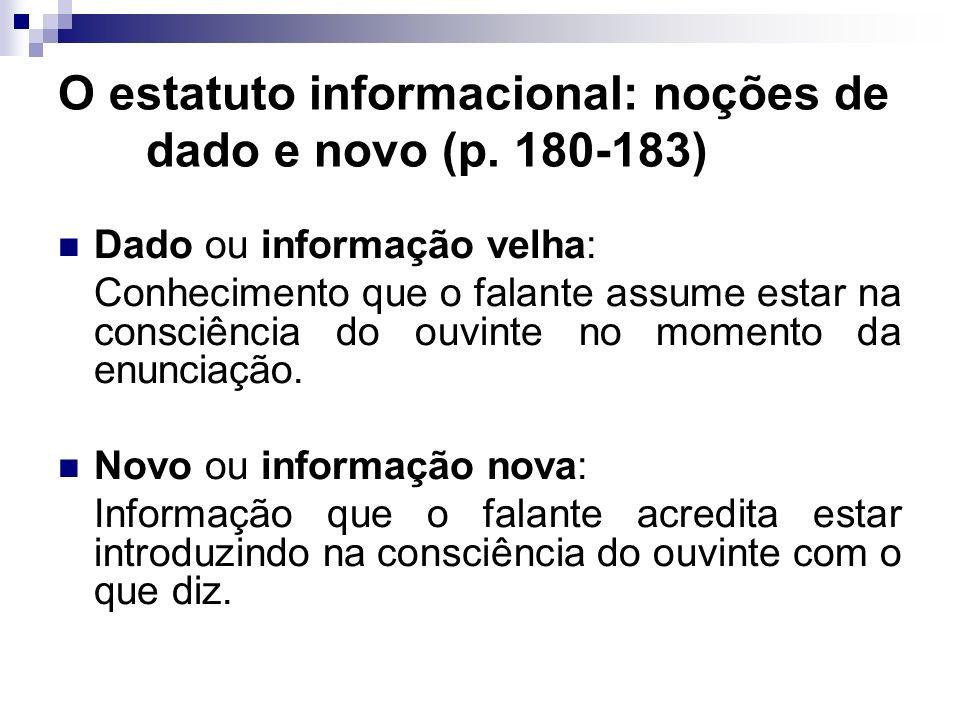O estatuto informacional: noções de dado e novo (p. 180-183)