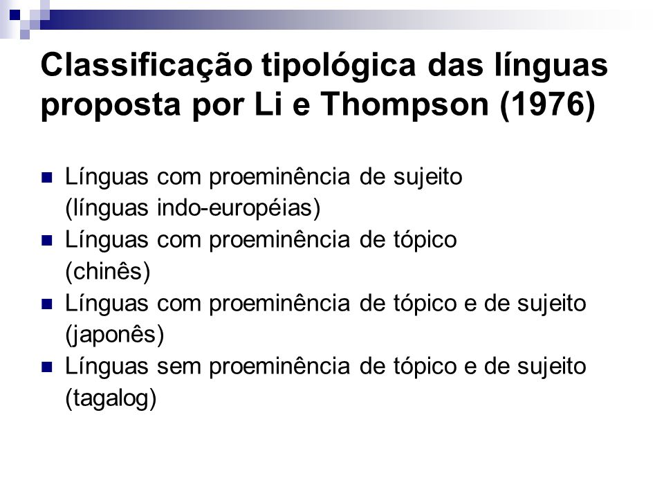 Classificação tipológica das línguas proposta por Li e Thompson (1976)
