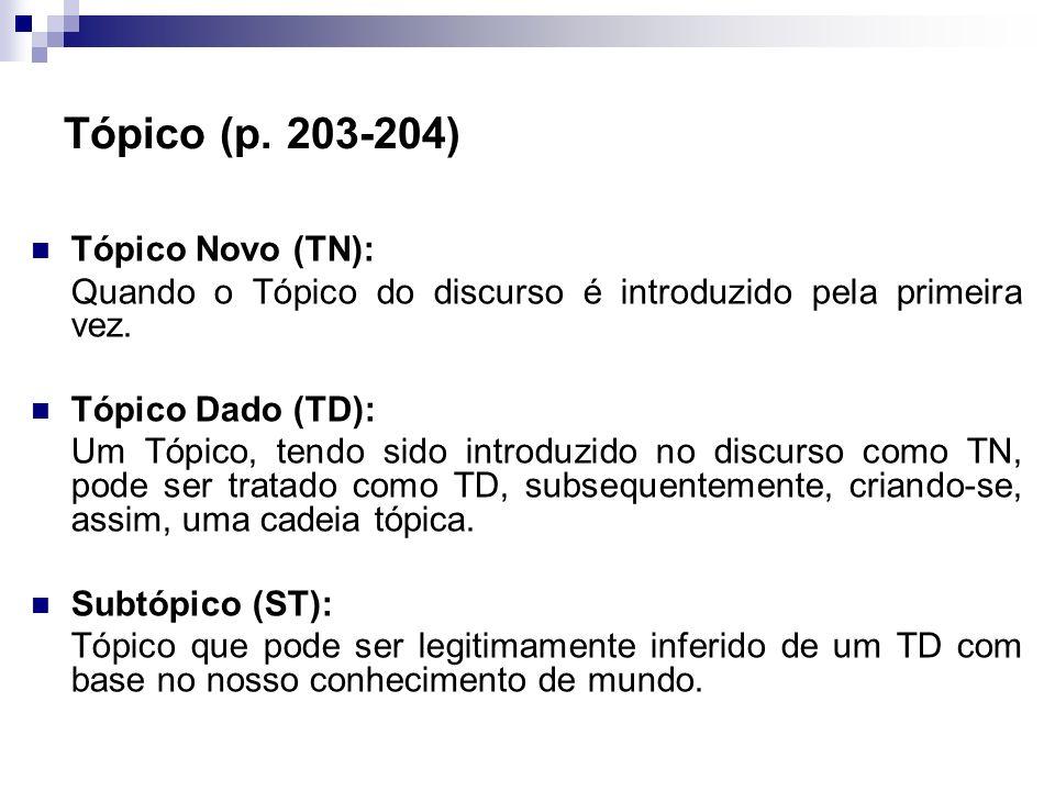 Tópico (p. 203-204) Tópico Novo (TN):