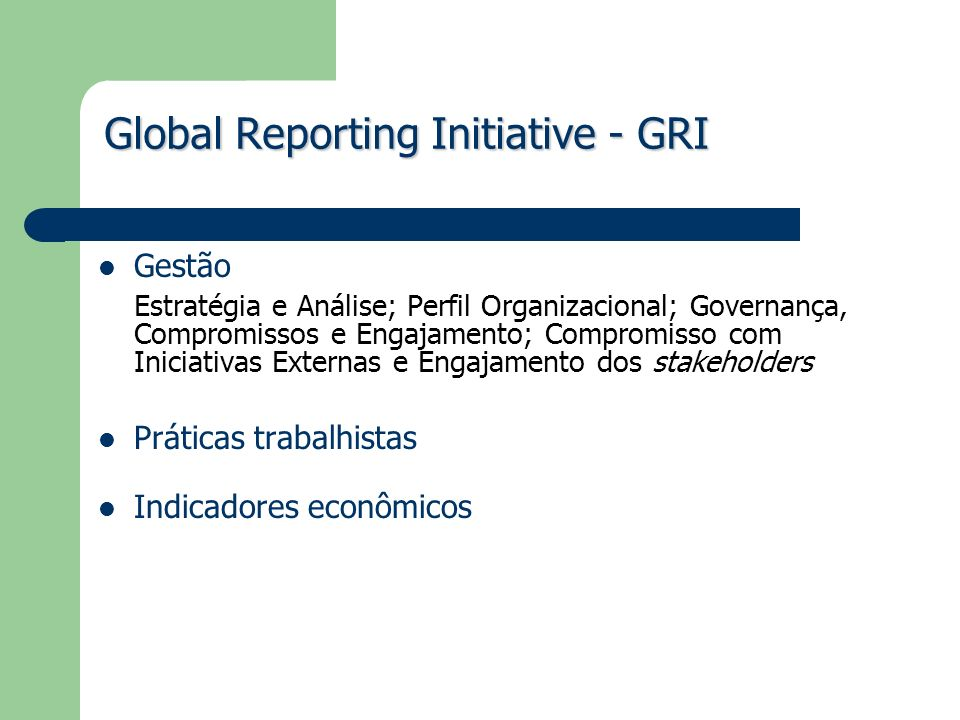 Global Reporting Initiative - GRI