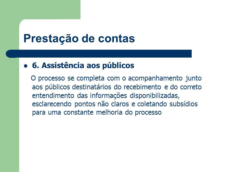 Prestação de contas 6. Assistência aos públicos.