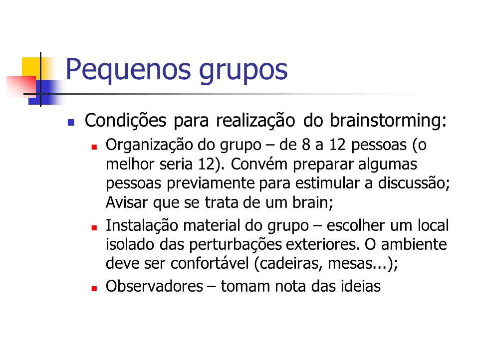 Pequenos grupos Condições para realização do brainstorming: