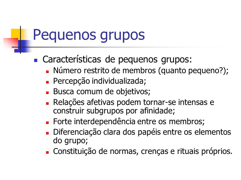 Pequenos grupos Características de pequenos grupos: