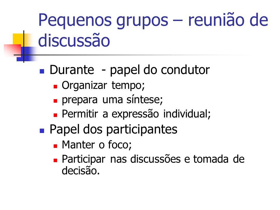 Pequenos grupos – reunião de discussão