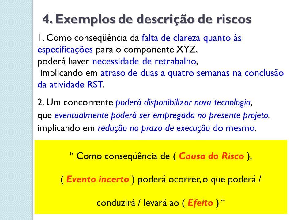4. Exemplos de descrição de riscos