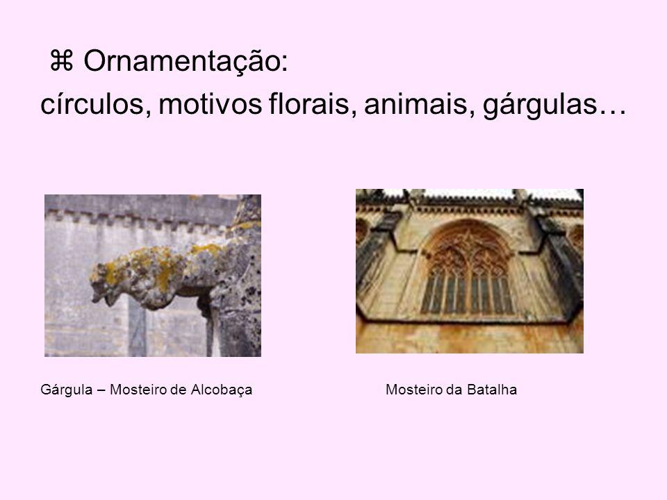 círculos, motivos florais, animais, gárgulas…