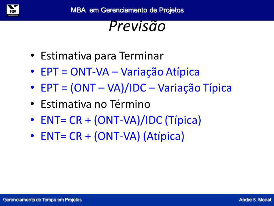 Previsão Estimativa para Terminar EPT = ONT-VA – Variação Atípica