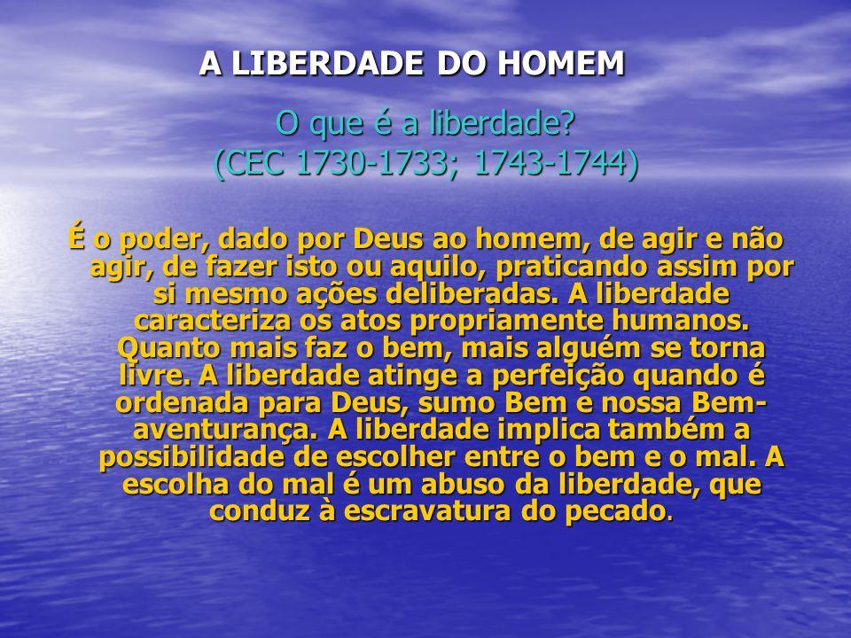 A LIBERDADE DO HOMEM O que é a liberdade (CEC 1730-1733; 1743-1744)