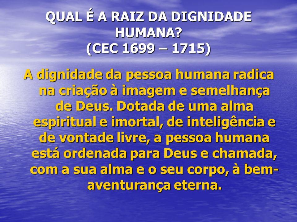 QUAL É A RAIZ DA DIGNIDADE HUMANA (CEC 1699 – 1715)