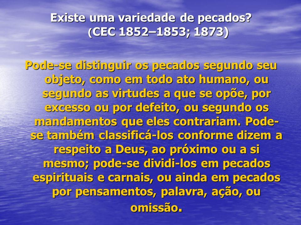 Existe uma variedade de pecados (CEC 1852–1853; 1873)