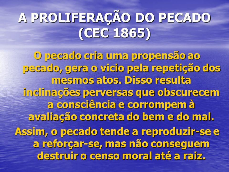 A PROLIFERAÇÃO DO PECADO (CEC 1865)