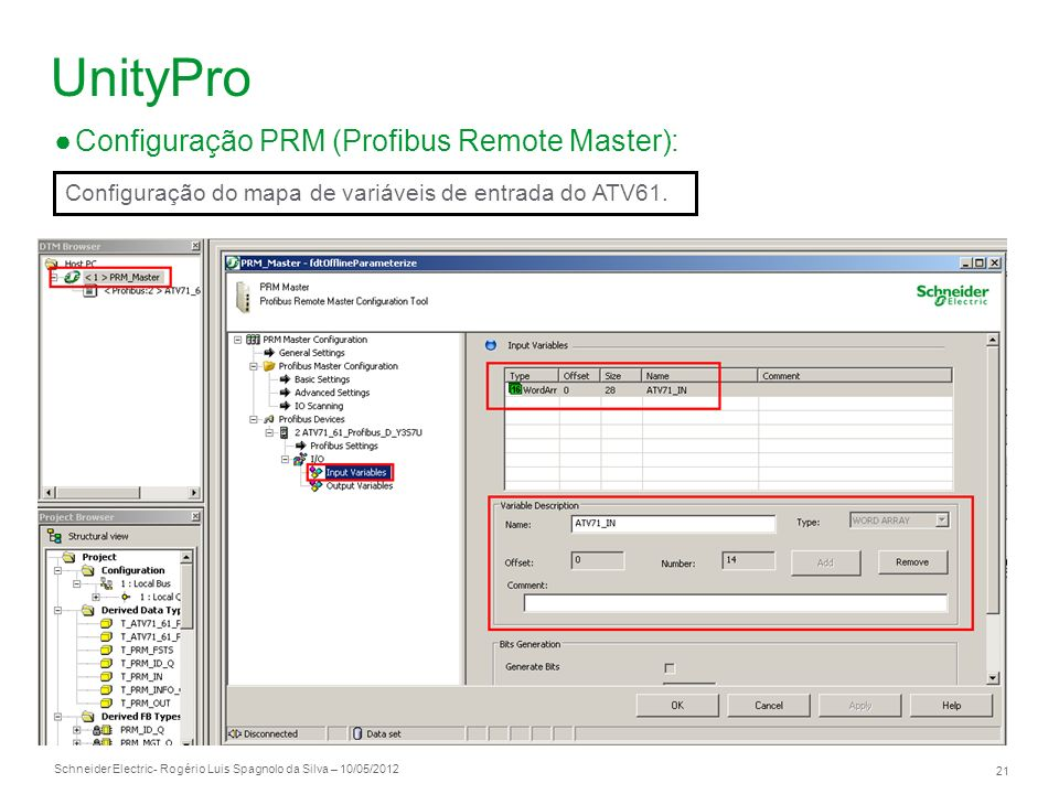 UnityPro Configuração PRM (Profibus Remote Master):
