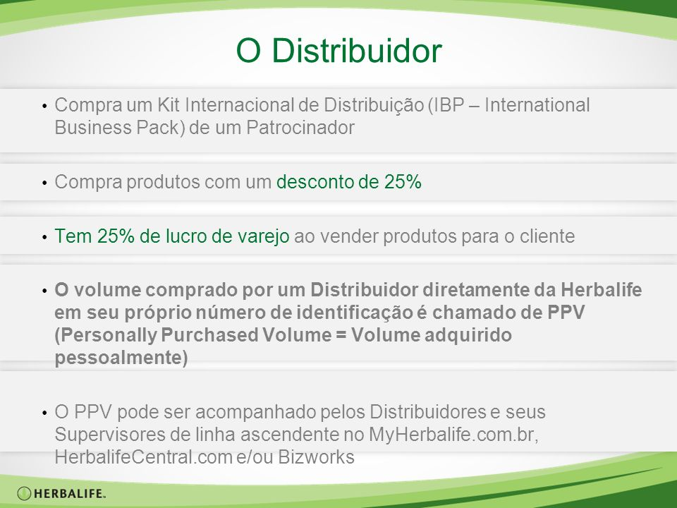 O DistribuidorCompra um Kit Internacional de Distribuição (IBP – International Business Pack) de um Patrocinador.