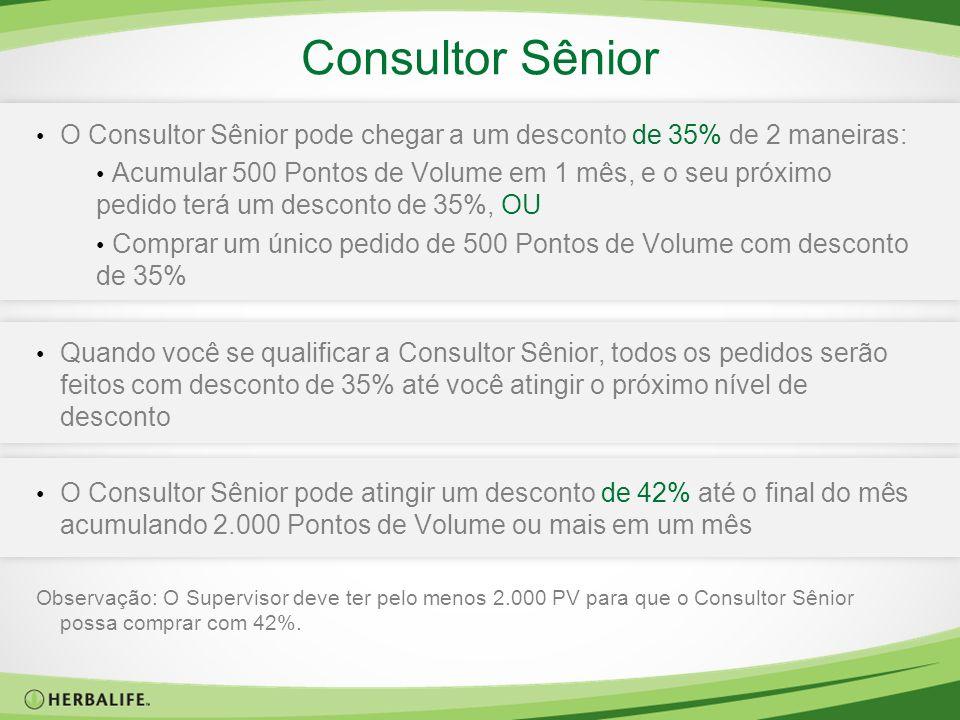 Consultor Sênior O Consultor Sênior pode chegar a um desconto de 35% de 2 maneiras: