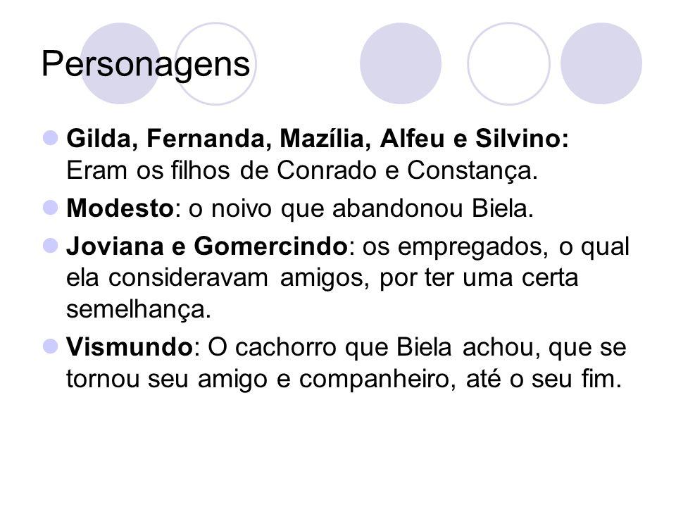Personagens Gilda, Fernanda, Mazília, Alfeu e Silvino: Eram os filhos de Conrado e Constança. Modesto: o noivo que abandonou Biela.