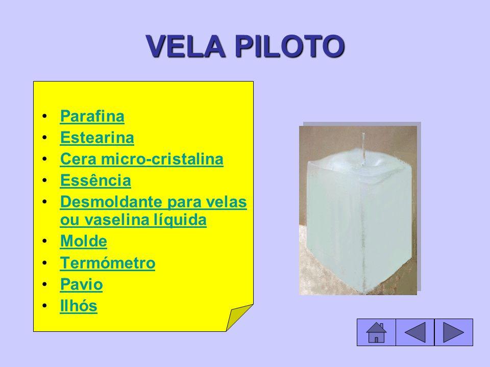 VELA PILOTO Parafina Estearina Cera micro-cristalina Essência