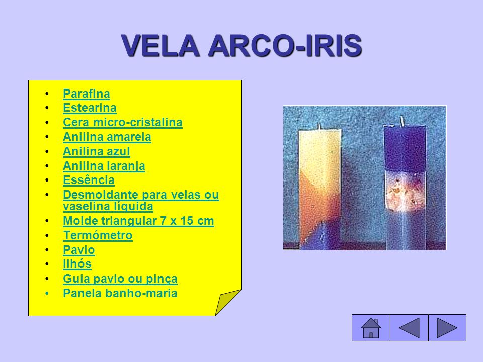 VELA ARCO-IRIS Parafina Estearina Cera micro-cristalina