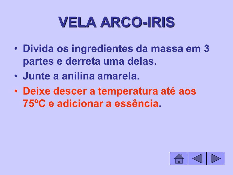 VELA ARCO-IRIS Divida os ingredientes da massa em 3 partes e derreta uma delas. Junte a anilina amarela.