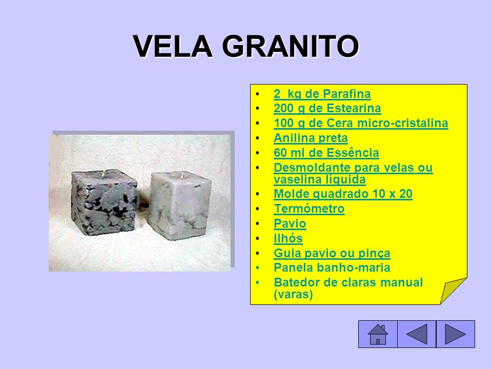 VELA GRANITO 2 kg de Parafina 200 g de Estearina