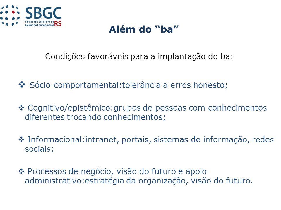 Condições favoráveis para a implantação do ba: