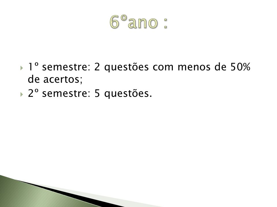 6ºano : 1º semestre: 2 questões com menos de 50% de acertos;