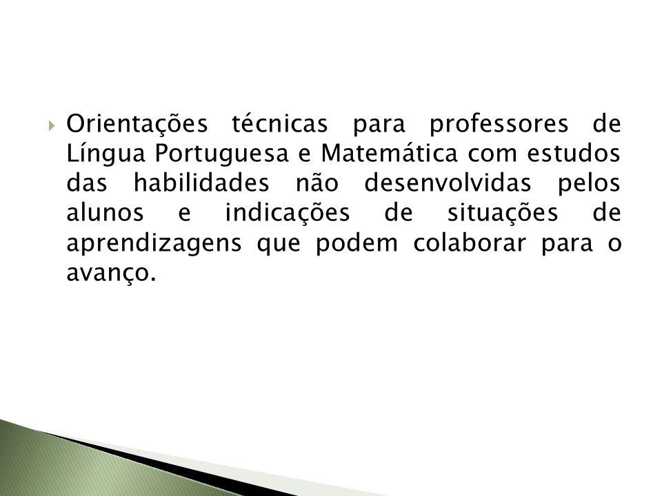 Orientações técnicas para professores de Língua Portuguesa e Matemática com estudos das habilidades não desenvolvidas pelos alunos e indicações de situações de aprendizagens que podem colaborar para o avanço.