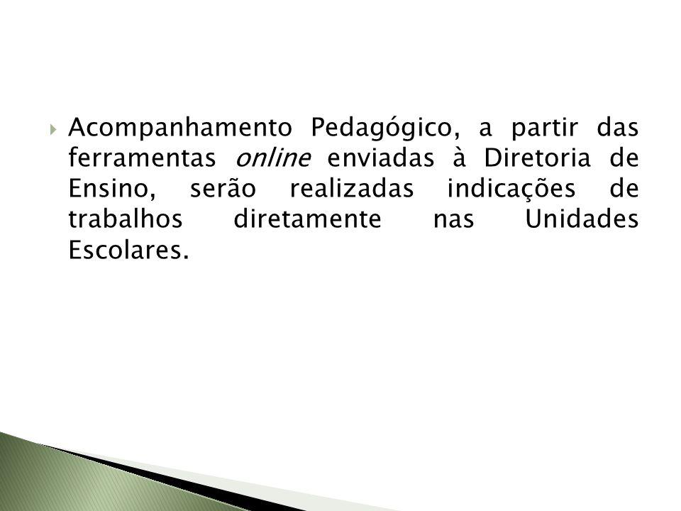 Acompanhamento Pedagógico, a partir das ferramentas online enviadas à Diretoria de Ensino, serão realizadas indicações de trabalhos diretamente nas Unidades Escolares.
