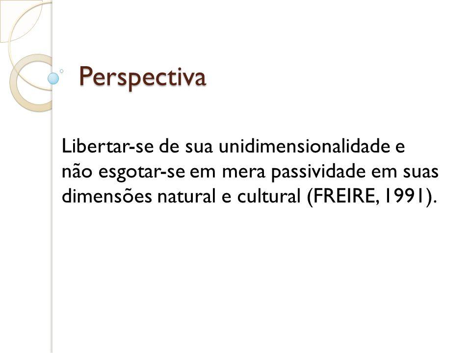 PerspectivaLibertar-se de sua unidimensionalidade e não esgotar-se em mera passividade em suas dimensões natural e cultural (FREIRE, 1991).