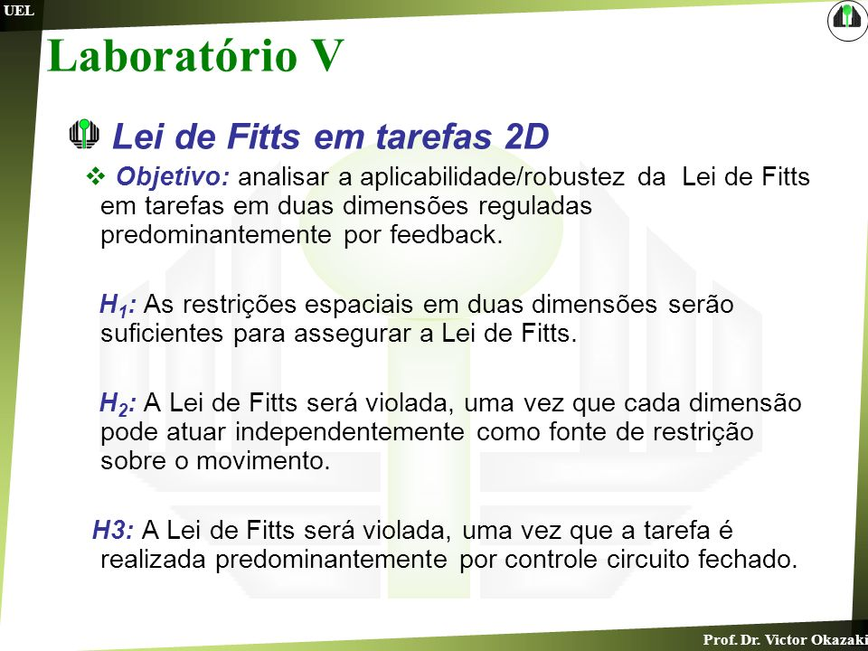 Laboratório V Lei de Fitts em tarefas 2D