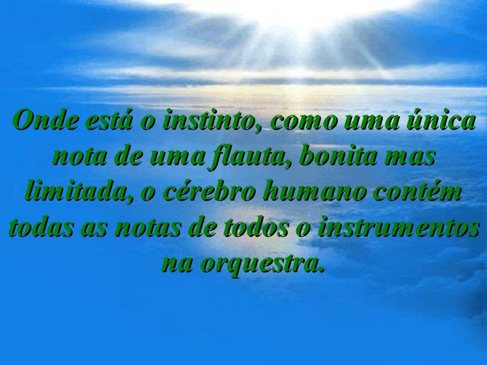 Onde está o instinto, como uma única nota de uma flauta, bonita mas limitada, o cérebro humano contém todas as notas de todos o instrumentos na orquestra.