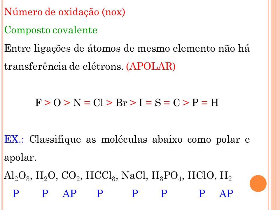 Número de oxidação (nox) Composto covalente Entre ligações de átomos de mesmo elemento não há transferência de elétrons.