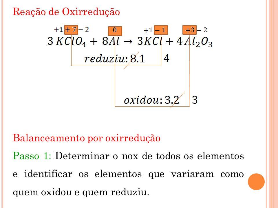 Reação de Oxirredução Balanceamento por oxirredução Passo 1: Determinar o nox de todos os elementos e identificar os elementos que variaram como quem oxidou e quem reduziu.