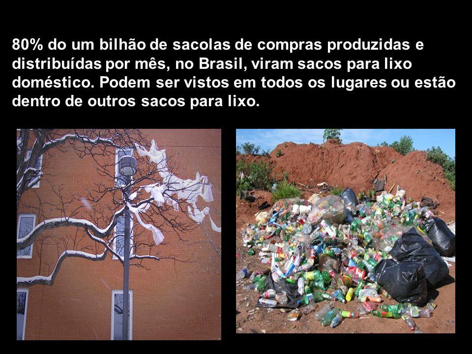 80% do um bilhão de sacolas de compras produzidas e distribuídas por mês, no Brasil, viram sacos para lixo doméstico.