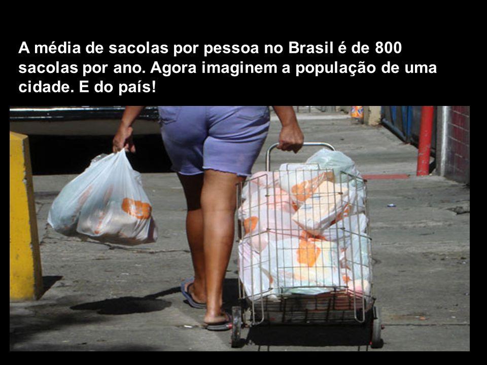 A média de sacolas por pessoa no Brasil é de 800 sacolas por ano