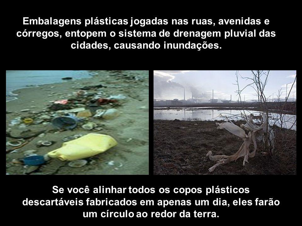Embalagens plásticas jogadas nas ruas, avenidas e córregos, entopem o sistema de drenagem pluvial das cidades, causando inundações.