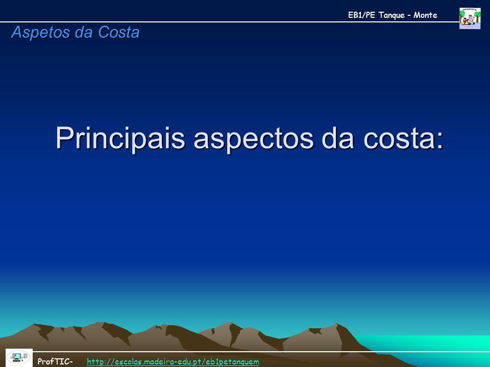 Principais aspectos da costa:
