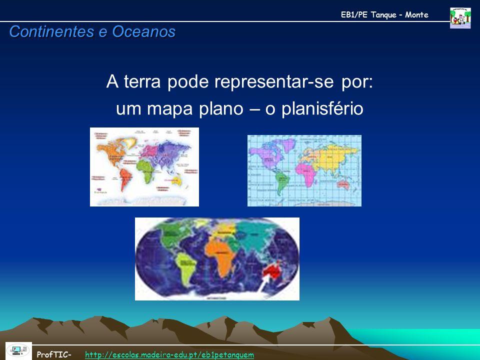 A terra pode representar-se por: um mapa plano – o planisfério