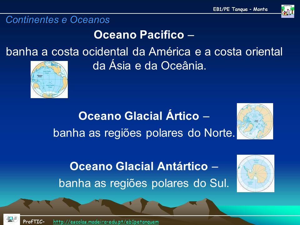 Oceano Glacial Ártico – banha as regiões polares do Norte.