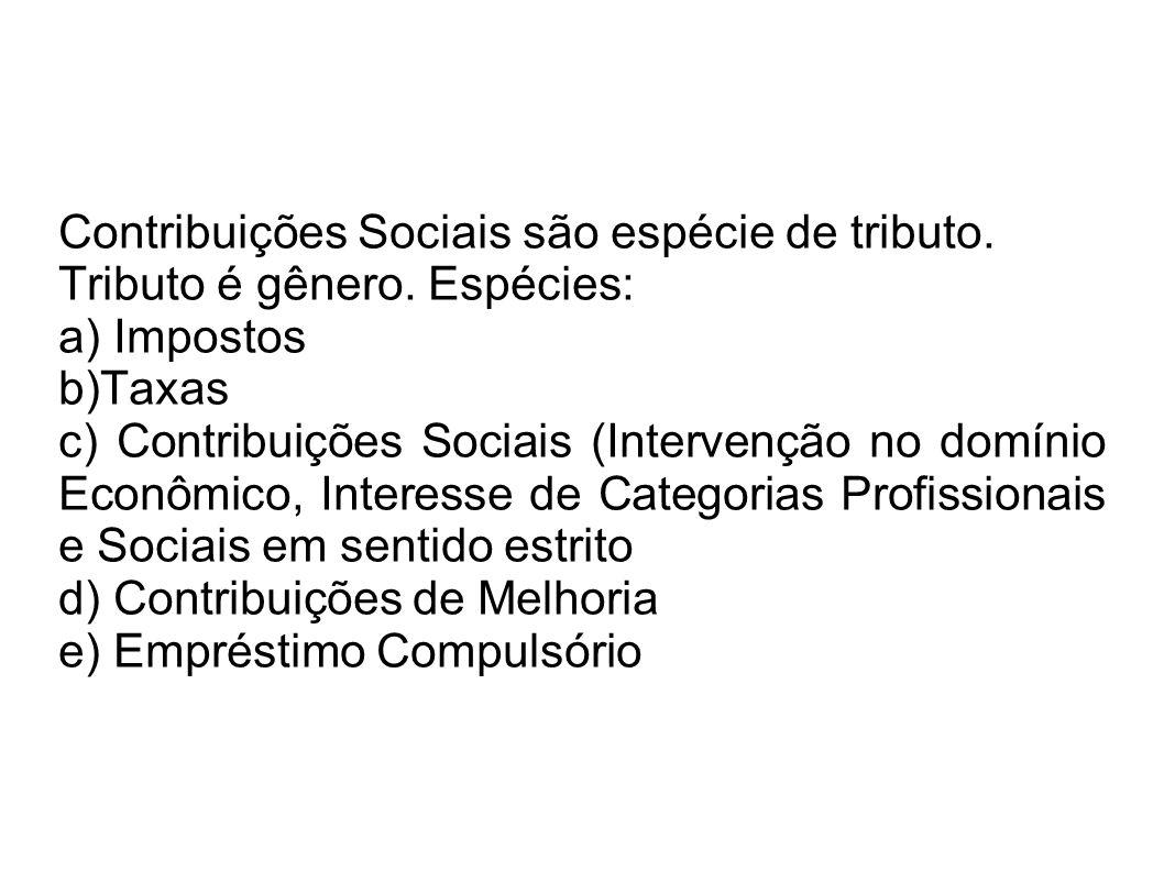 Contribuições Sociais são espécie de tributo.
