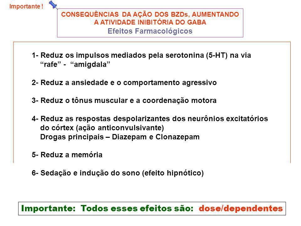 Importante: Todos esses efeitos são: dose/dependentes