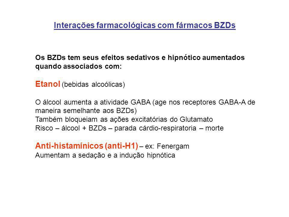 Interações farmacológicas com fármacos BZDs