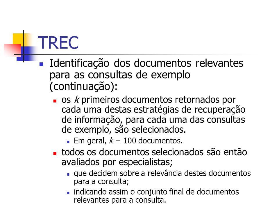 TRECIdentificação dos documentos relevantes para as consultas de exemplo (continuação):