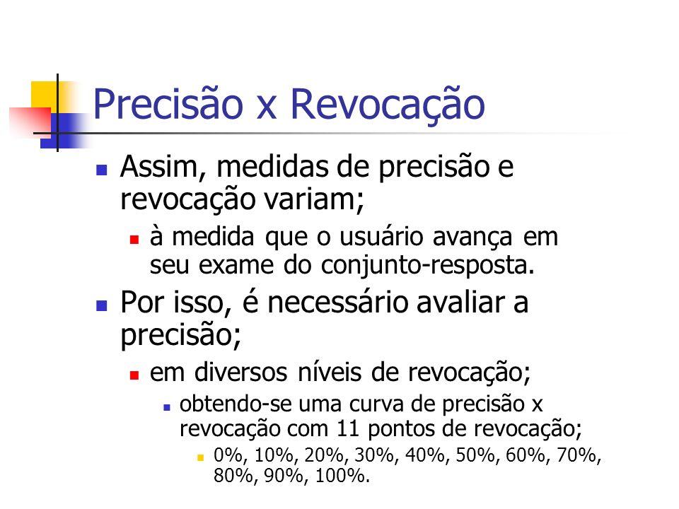 Precisão x Revocação Assim, medidas de precisão e revocação variam;