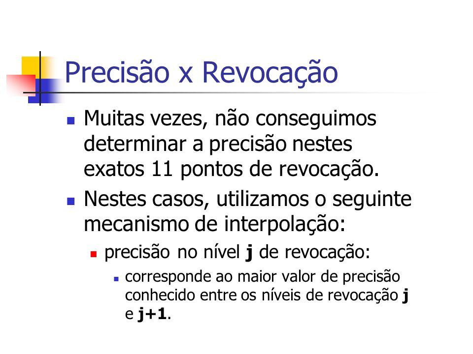 Precisão x RevocaçãoMuitas vezes, não conseguimos determinar a precisão nestes exatos 11 pontos de revocação.